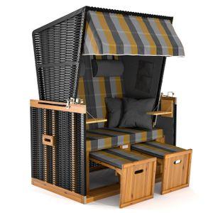 Sanzaro Strandkorb XL120 cm Deluxe Zweisitzer Holz und Poly-Rattan Volllieger 4 x Kissen klappbare Rückenlehne 2 Personen Grau-Gold Karo