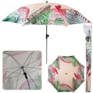 Sonnenschirm Tropical Ø 180 cm rosa Strandschirm knickbar UV 40+ Sonnenschutz Gartenschirm verstellbar Schirm Terrassenschirm