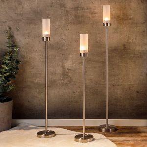 Kerzenleuchter Set 3 tlg. aus mattiertem Edelstahl