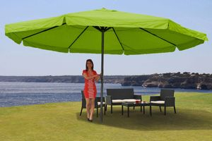 Sonnenschirm Meran Pro, Gastronomie Marktschirm mit Volant Ø 5m Polyester/Alu 28kg  grün ohne Ständer