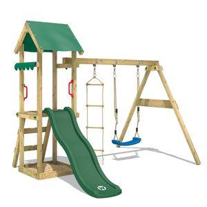 WICKEY Spielturm Klettergerüst TinyCabin mit Schaukel & grüner Rutsche, Kletterturm mit Sandkasten, Leiter & Spiel-Zubehör