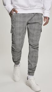 Urban Classics Herren Sweat-Hose AOP Glencheck Cargo Jog Pants TB3138 Mehrfarbig White/Black S