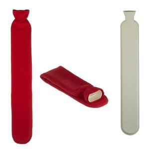 XL Wärmflasche 2 Liter Schlauch Extra Lang Bezug Rot  72cm