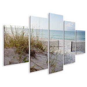 Bild Bilder auf Leinwand Wunderschöner Strand Sonnenaufgang Landschaft Dünen Ozean Golf Mexiko Wandbild Poster Leinwandbild GCWS