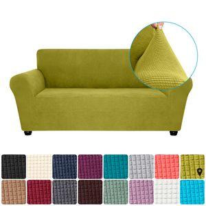 Stretch Sofa Schonbezug Elasthan Anti-Rutsch Soft Couch Sofabezug 2-Sitzer Waschbar für Wohnzimmer Kinder Haustiere (Zartes Grün)