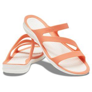 Crocs Swiftwater Sandal W Damen Sandale Badelatsche 203998 Orange, Schuhe:38/39 EU