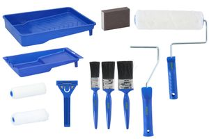 Kinzo Malerset, 12-teilig, Starter-Kit für Anstrich von Wand und Decke mit Pinsel, Farbroller, Farbwanne, Blau