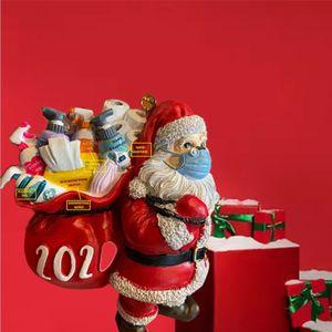 5 Stk 2020 Weihnachtsschmuck Santa mit Maske Harz Christbaumschmuck Weihnachtskugeln Figuren Winterdeko