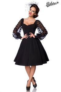 Damen Vintage Retrokleid mit langen Ärmeln, Farbe: Schwarz, Größe: 4XL