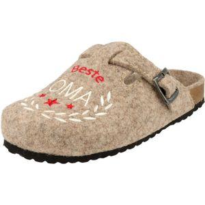 Supersoft Damen Schuhe 522-335 Beste Oma Pantoffeln Filz Hausschuhe Beige