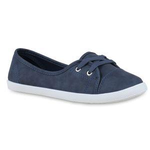Mytrendshoe Sportliche Damen Ballerinas Stoff Slipper Sneaker Flats Schnürer 71109, Farbe: Blau, Größe: 39