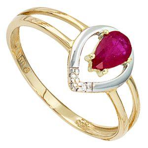 JOBO Damen Ring 585 Gold Gelbgold teilrhodiniert 3 Diamanten Brillanten 1 Rubin rot Größe 58