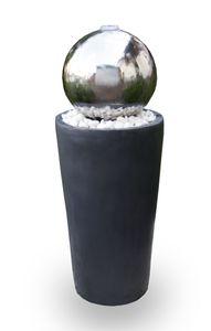 Kugelbrunnen Gartenbrunnen Brunnen FoBoule darkgrey mit Edelstahlkugel 75cm 10859