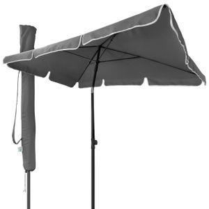 VOUNOT Sonnenschirm für Balkon, 200 × 125 cm, Knickbarer Balkonschirm Rechteckig, Grau