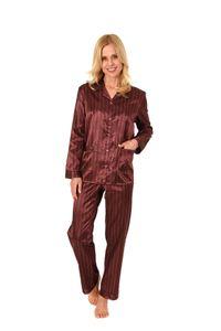 Damen Satin Pyjama Schlafanzug in edler Optik zum durchknöpfen - 191 201 94 002, Farbe:anthrazit, Größe:40/42
