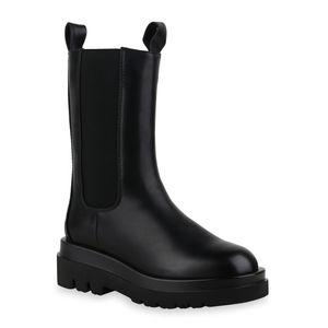 Mytrendshoe Damen Stiefel Leicht Gefütterte Plateaustiefel Profil-Sohle Schuhe 835822, Farbe: Schwarz, Größe: 38