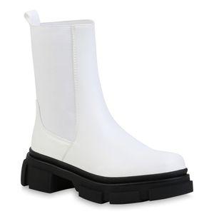VAN HILL Damen Stiefeletten Plateau Boots Profil-Sohle Schlupf-Stiefel 835918, Farbe: Weiß, Größe: 37