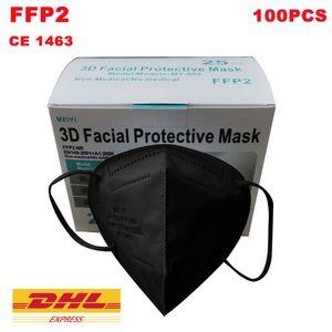 Meiyi 100 Stück FFP2 Maske schwarz Mundschutzmaske / Mund-Nasenschutz Masken Atemschutzmaske mit CE1463
