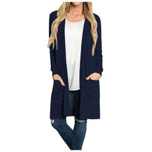Damen Langarm Open Front Loose Pocket Causal Leichte Kimono Cardigan Größe:XXL,Farbe:Navy