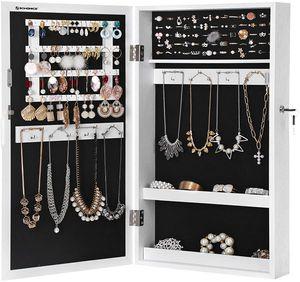 SONGMICS hängend Schmuckschrank mit Tür und Magnetverschluss 67x37x10,5 cm Wandspiegel zum Hängen weiß JBC51W