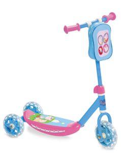 Peppa Pig 3-Rad Tretroller, Stabiler Kick Scooter mit Lenkertasche für Kinder ab 3 Jahren