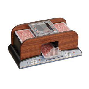 relaxdays Kartenmischer 2 Decks Holzoptik
