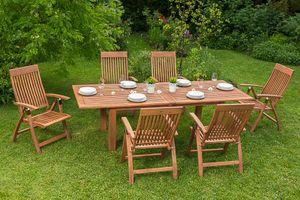 Merxx 7tlg. Comodoro Gartenmöbelset Gartenmöbelgarnitur - Farbe: braun - Maße: Sessel: 63x62x110 Tisch: 180/220/260x100x75; 6x 25000-011  + 1x 25915-011