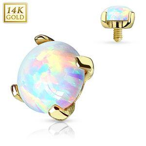 Dermal Anchor Aufsatz Hautanker Piercing 14 kt 585er Gold mit Opal, Größe:5 mm