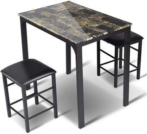 Goplus 3-teilig Tischgruppe, Esstischmit 2 Stuehlen, Sitzgruppe Essgruppe mit industriellem Stil, Quadratische Esstisch und Stuehle fuer Esszimmer, Kueche, Restaurants, Bars