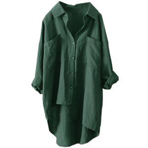 Damen Baumwolle Leinen Langarm Tasche Mittellanges Hemd T-Shirt,Farbe: Grün,Größe:XXL