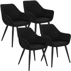 WOLTU Esszimmerstühle BH152sz-4 4er Set Küchenstühle Wohnzimmerstuhl Polsterstuhl Design Stuhl mit Armlehne Gestell aus Stahl Leinen Schwarz