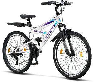 Licorne Bike Strong V Premium Mountainbike in 24 und 26 Zoll - Fahrrad für Jungen, Mädchen, Damen und Herren - Shimano 21 Gang-Schaltung - Vollfederung, Farbe:Weiß/Lila, Zoll:26