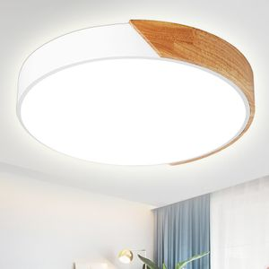 24W LED Deckenleuchte dimmbar mit Fernbedienung, Runde Deckenlampe für Wohnzimmer Schlafzimmer, Holz & Metall [Energieklasse A++]