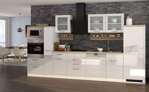 Küchenblock Mailand 370 cm mit Apothekerauszug weiß hochglanz ohne Elektrogeräte