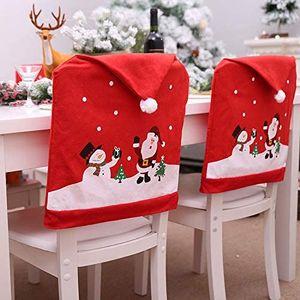 6 Stück Weihnachts-Stuhlhussen, Weihnachtsmannmütze, Stuhlbezüge, Weihnachtsmannmütze, Stuhlbezug, Stuhlbezug, rote Hut, Stuhlrücken, Weihnachten, Abendessen, Party-Dekoration