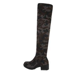 Ital-Design Damen Stiefel Overknees Camouflage Gr.40