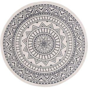Teppich Rund Grau 120 cm Baumwollteppich mit Quasten Flachgewebe Teppiche Waschbar Retro Teppiche