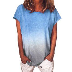 Plus Size Frauen Casual Tie Dye T-Shirt Sommer Rundhalsausschnitt Kurzarm T-Shirt Top Blau XL