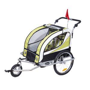 HOMCOM Kinderanhänger 2 in 1 Fahrradanhänger Kinder Jogger Anhänger für 2 Kinder Grün-Schwarz