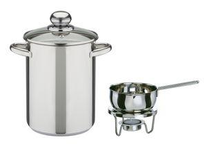GSW Spargeltopf-Set 16 cm (ca. 4,2 Ltr.) + Saucenwärmer mit Stövchen und Teelicht