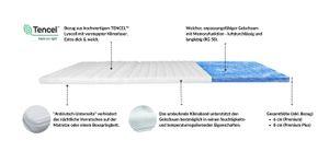 AM Qualitätsmatratzen | Premium Gelschaum-Topper | 180x200 cm | 6 cm Höhe | Matratzentopper | 180/200 | Gel Topper