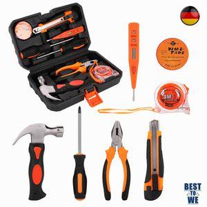 8 tlg Werkzeugkoffer mit Werkzeug Set Werkzeugkasten Werkzeugkiste Hammer