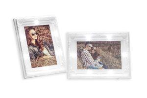 2er Set Bilderrahmen 10x15 LED 20x14,5cm Weiß Barock Shabby Chic