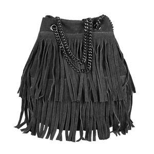 Italy Damen Leder Tasche Fransen Shopper Kettentasche Beutel Wildleder Handtasche Umhängetasche Bucket Bag Schultertasche Ledertasche Schwarz