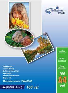 EtikettenWorld BV 100 Blatt A4 Fotopapier 260g/m² hochglänzend, wasserfest, Super weiss von EtikettenWorld BV