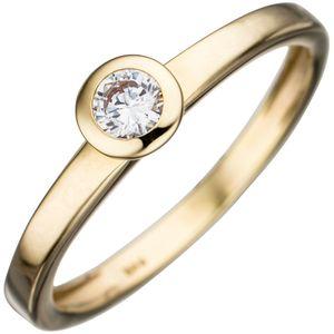 Solitär Ring Damenring aus 333 Gold Gelbgold Zirkonia weiß Goldring, Ringgröße:Innenumfang 54mm  Ø17.2mm