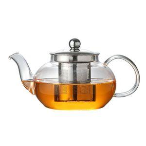 NEUFU Teekanne 800ml Dickes Glas Teebereiter mit Edelstahl-Sieb Borosilicate Glaskanne