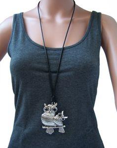 Kette lange Halskette Lederlook schwarz Eule XL Anhänger silber K1443