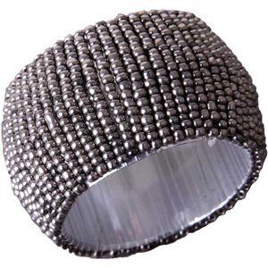 Glasperlen Serviettenring Ø4cm - Silber Silbergrau