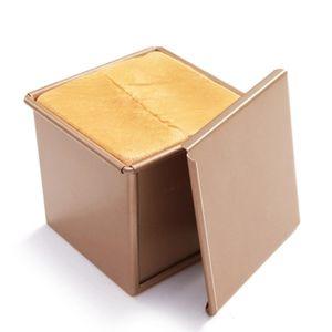 CANDeal Für 250g Teig Toast Brot Backform Gebäck Kuchen Brotbackform Mold Backform mit Deckel(Gold-Quadrat-Glatt)